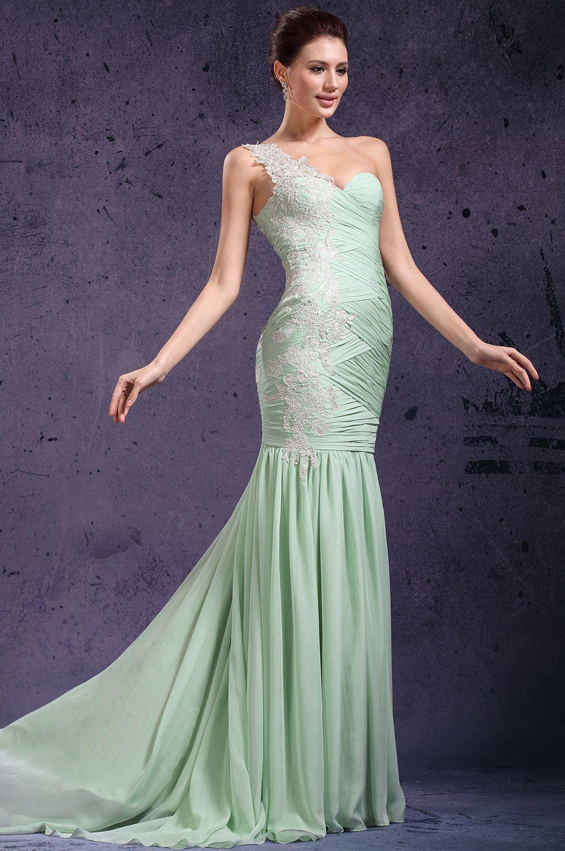 Atractivo Vestido De Cóctel Un Hombro Verde Ideas Ornamento ...