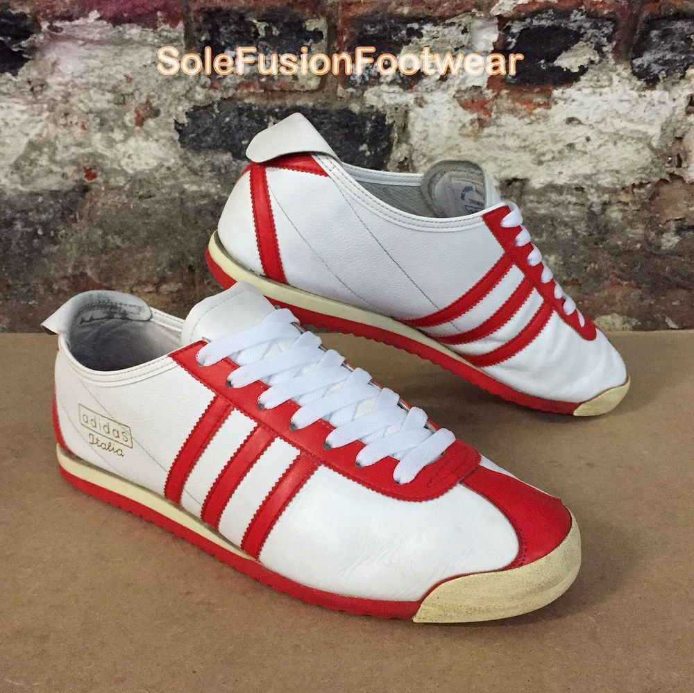 adidas Mens ITALIA Trainers White/Red size 11 1960s Retro Sneakers US 11.5  EU 46