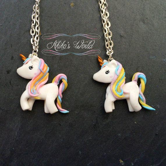 080d46f58122 Collar pequeño pastel unicornio arco iris de kawaii brillante - collar de  arcilla de polímero hecho a mano   fimo