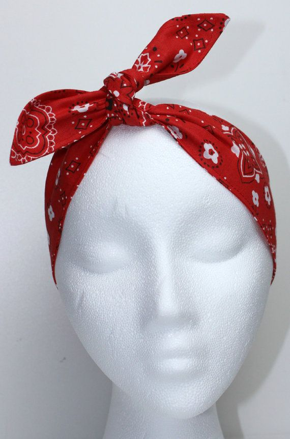 Pinup Hair Accessory Rosie Wrap Red White by BlackCatStitches