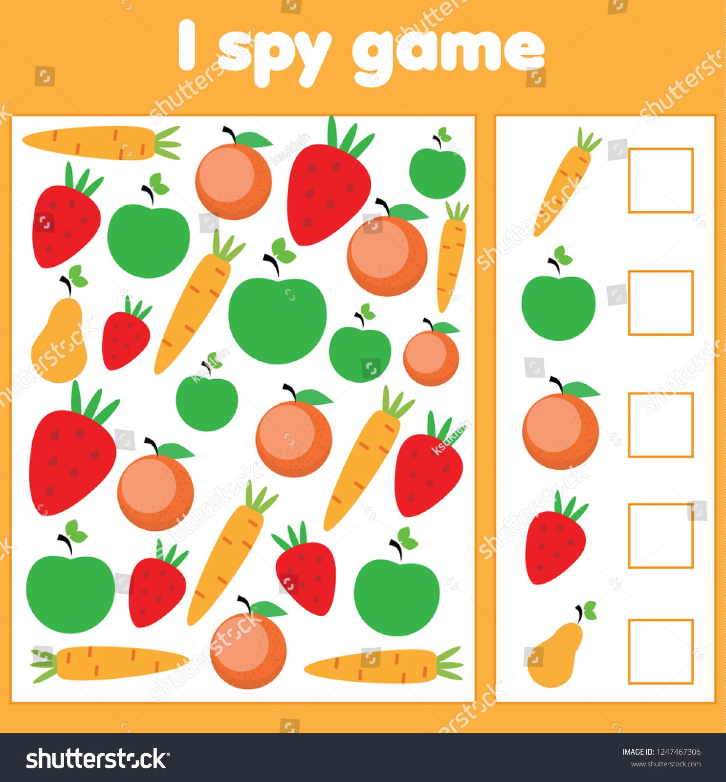 I spy game for toddlers. Find and count vegetables and fruits. Children  educational gam…   Educational games for kids [ 1600 x 1485 Pixel ]