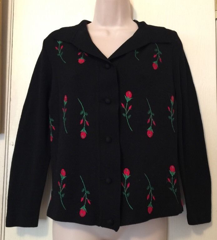 100 Merino Wool Cardigan Sweater Black Embroidered Red Rose Buds