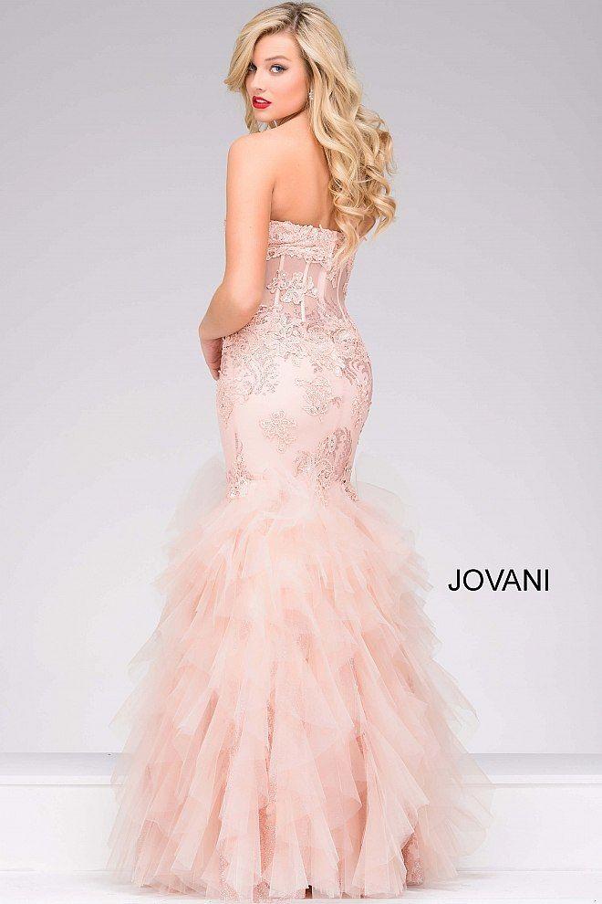 Blush Tiered Trumpet Long Dress #88893 #blush #Jovani   On Trend in ...