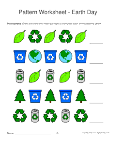 earth day pattern worksheets for kids 1 2 pattern draw and color the - Color Patterns For Kids