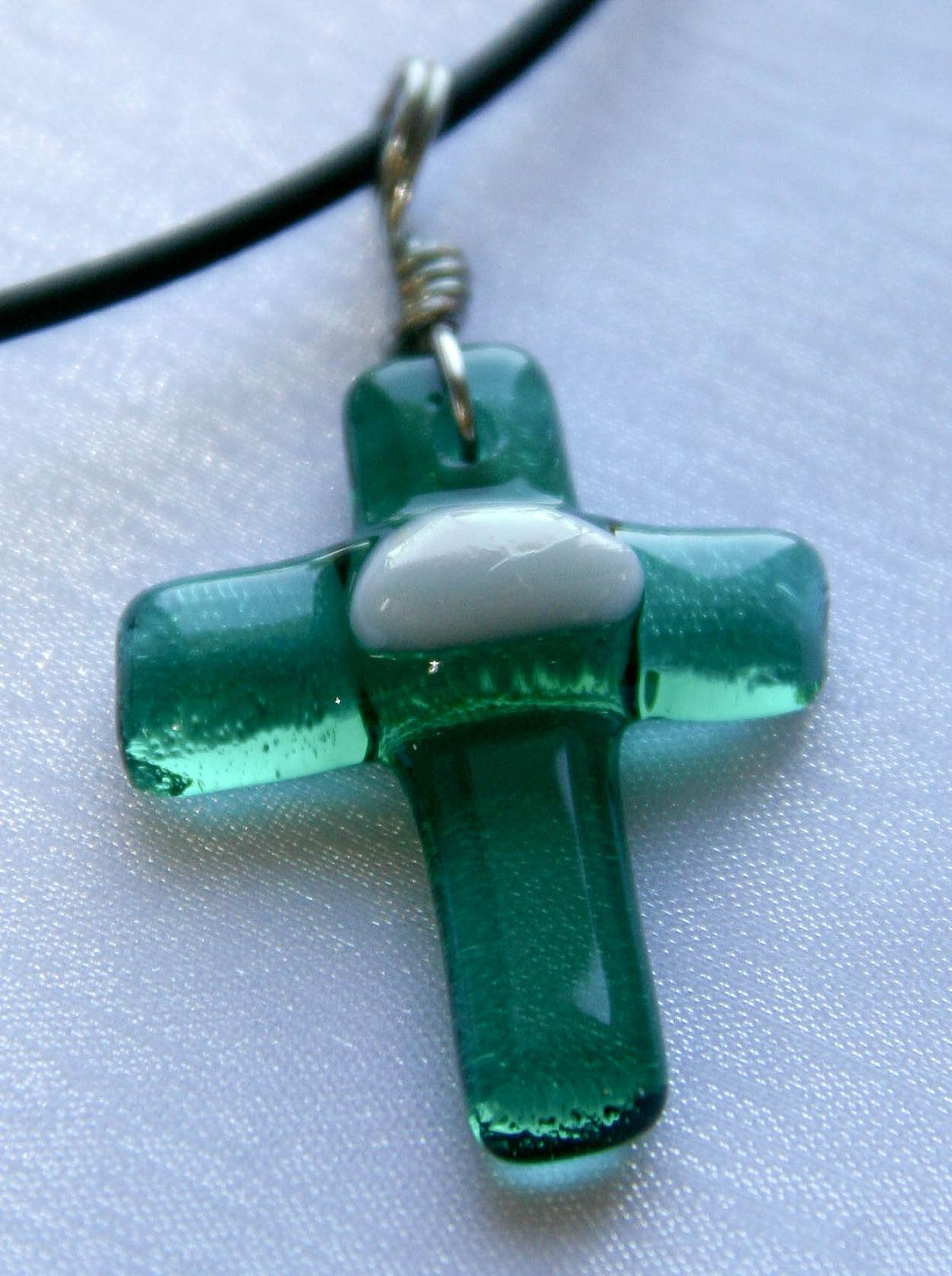 Fused Glass Cross Pendant by ArtFusionStudioTampa on Etsy, $11.99