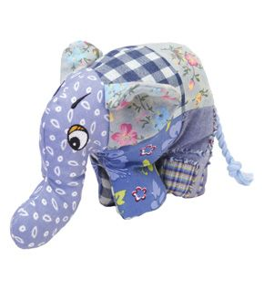 Patch Elephant Plush And Crinkle Dog Toy With Squeaker Inside