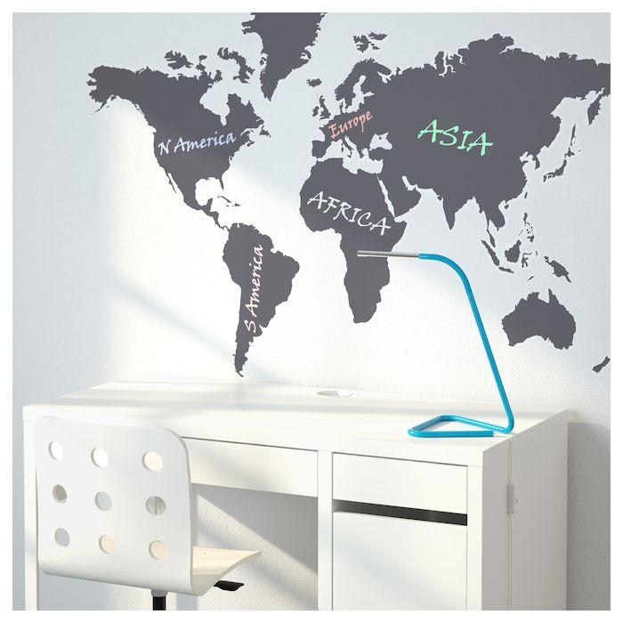 Decorative stickers KLÄTTA chalkboard world | Ikea | Pinterest ...