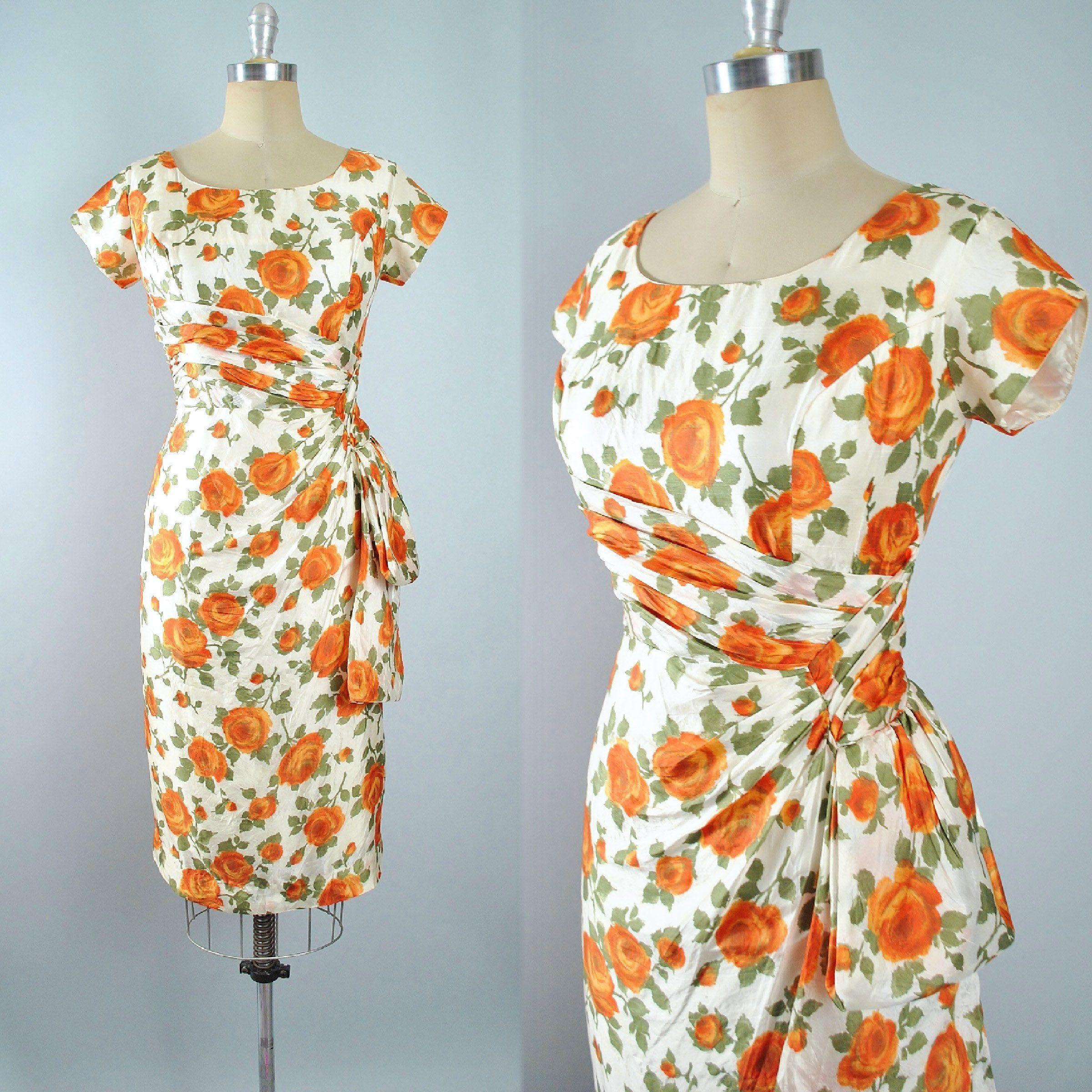 Vintage 50s ROSE Print Wiggle Dress / 1950s Ivory SILK Orange Floral ...