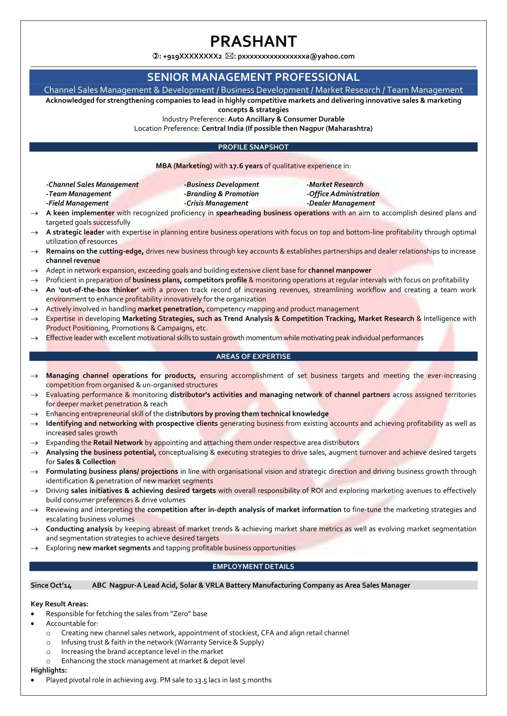 Sample Resume Format For 5 Years Experience ResumeFormat