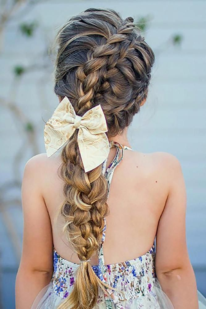 flower girl hairstyles long volume braid with trendy white