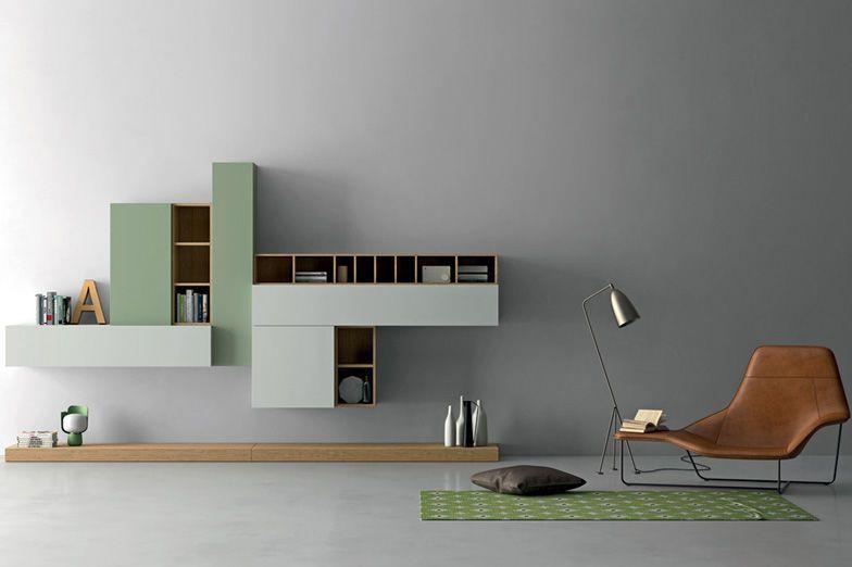 Biblioteca de pared / modular / moderna / de madera SLIM Dall\'Agnese ...