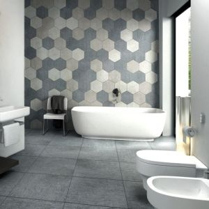 Bathroom Feature Wall. Large Multi coloue Hexagons ...