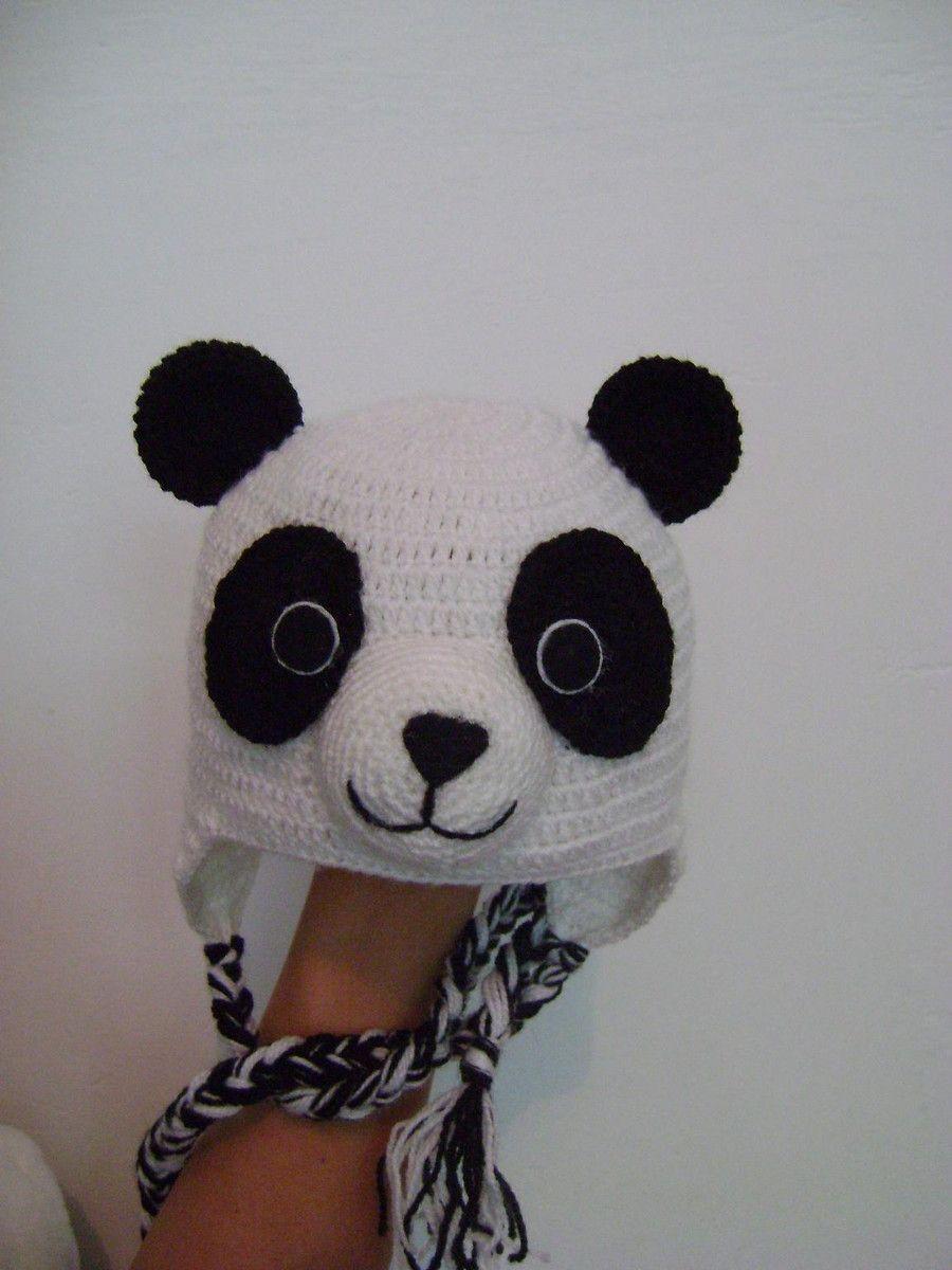 Gorro urso panda para recém nascido em crochê feito todo a mão. Fio anti- fbb624078f2