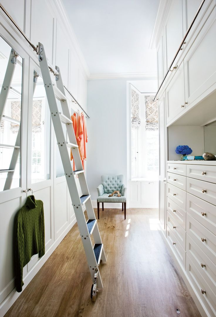 Trend Alert: Library Ladders at Home | White cabinets, Window and Woods
