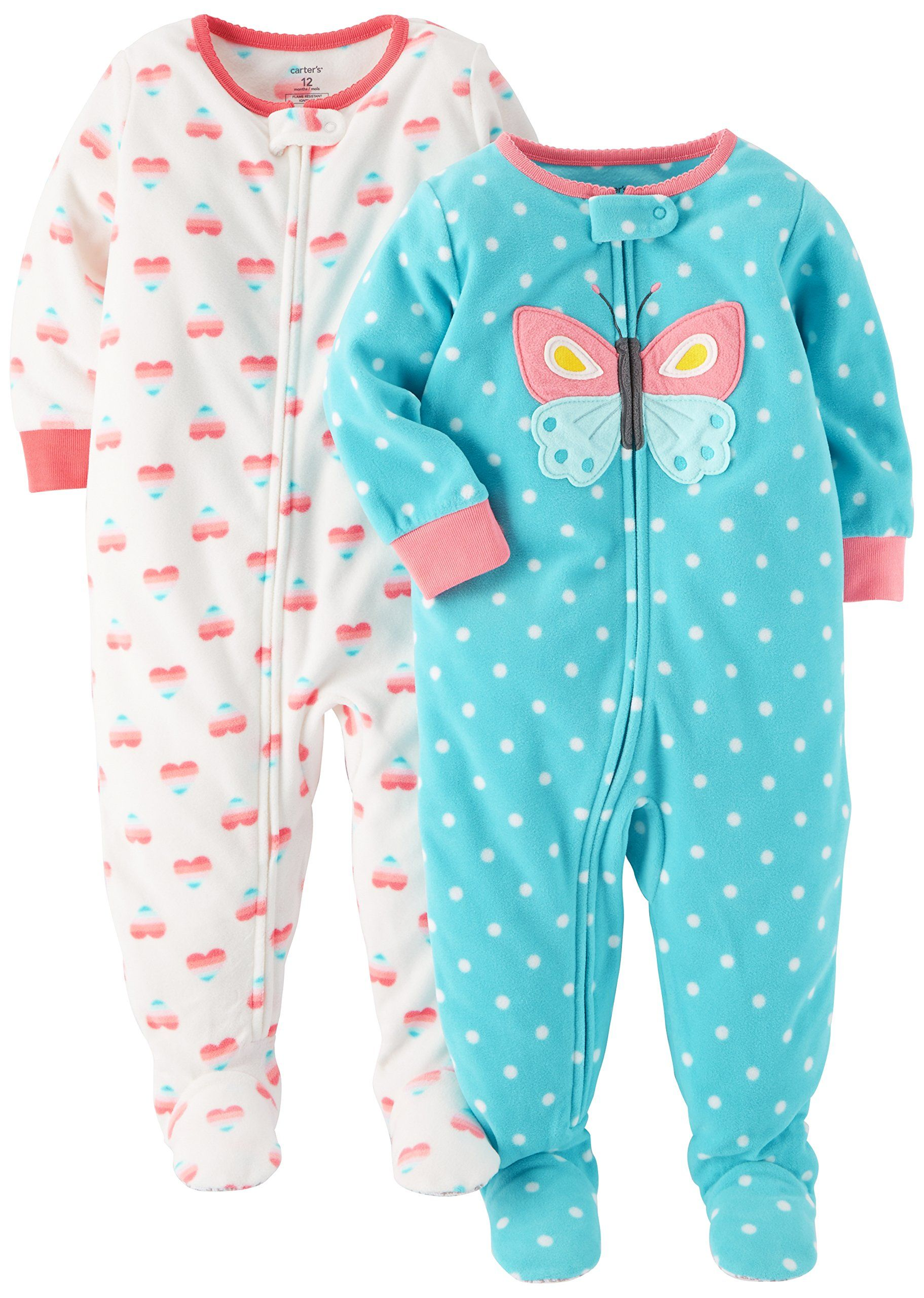 978632171 Carter s Baby Girls  Toddler 2-Pack Fleece Pajamas