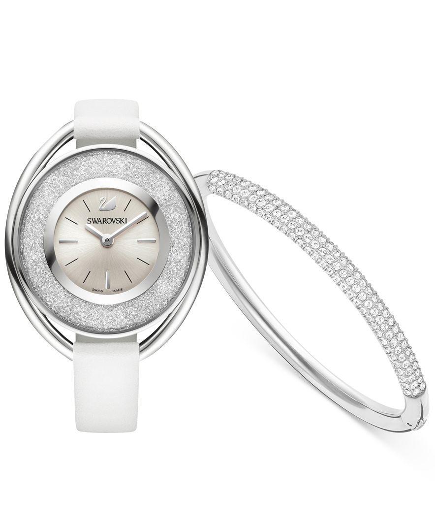 c5f8cfc9dae3 Swarovski Crystalline Oval Watch   Rhodium-Plated Stone Mini Bangle Set 43  mm