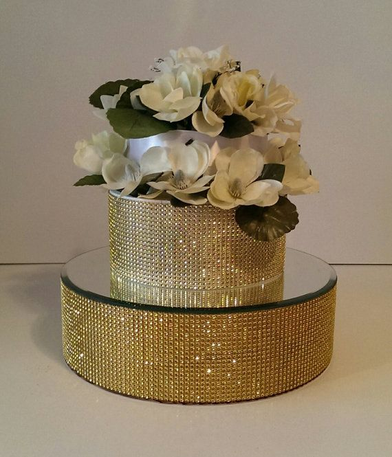 Gold Bling 14 Inch Round Cake Stand Riser With A Mirror Top