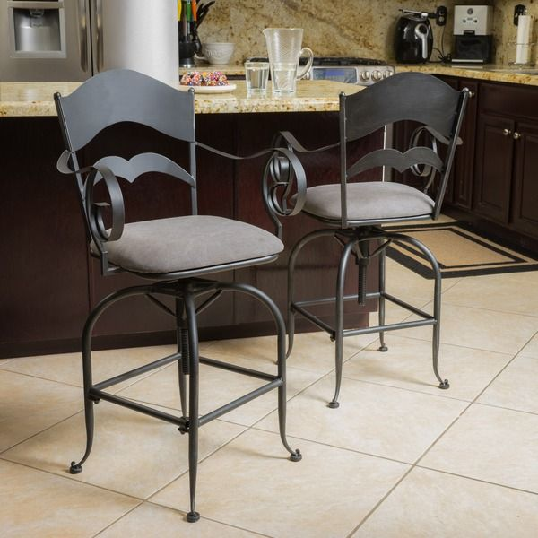 Christopher Knight Home Wheaton Iron Swivel Barstool (Set of 2)