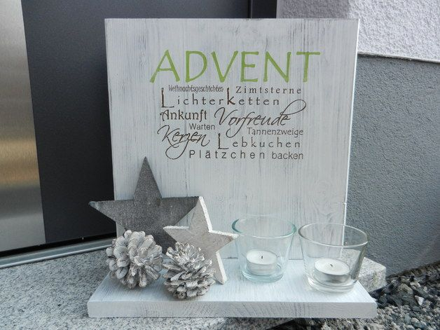 Deko-Objekte - Holzschild mit Ablage Advent shabby chic - ein Designerstück von Pfeifers-Holzwerkstatt bei DaWanda #weihnachtsmarktideenverkauf