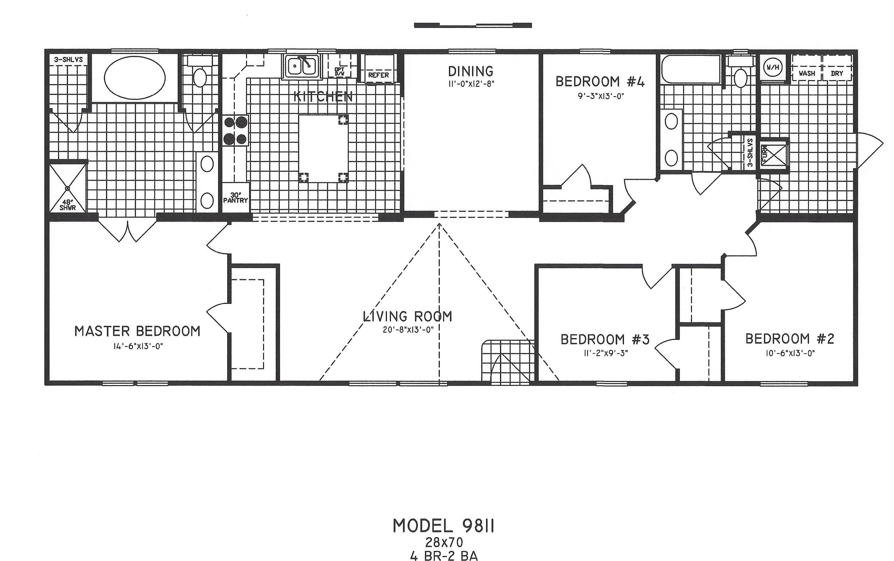 28x70 4 Bedroom 2 Bath With Large Kitchen Formal Dining Room And