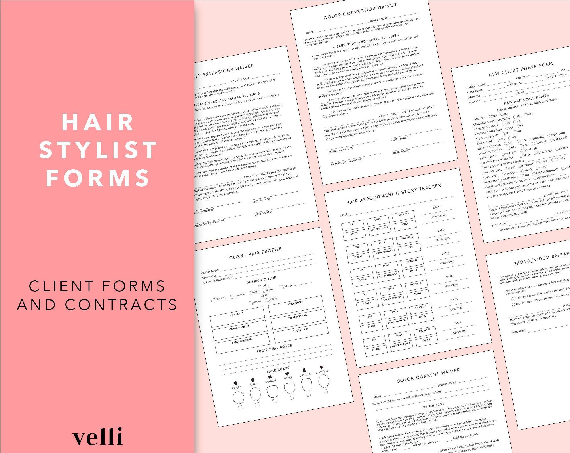 Hair Stylist Bundle Hair Stylist Contracts Hair Salon
