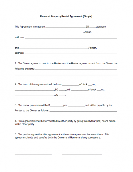 Property House Rental Agreement Form Free | Property Rentals ...