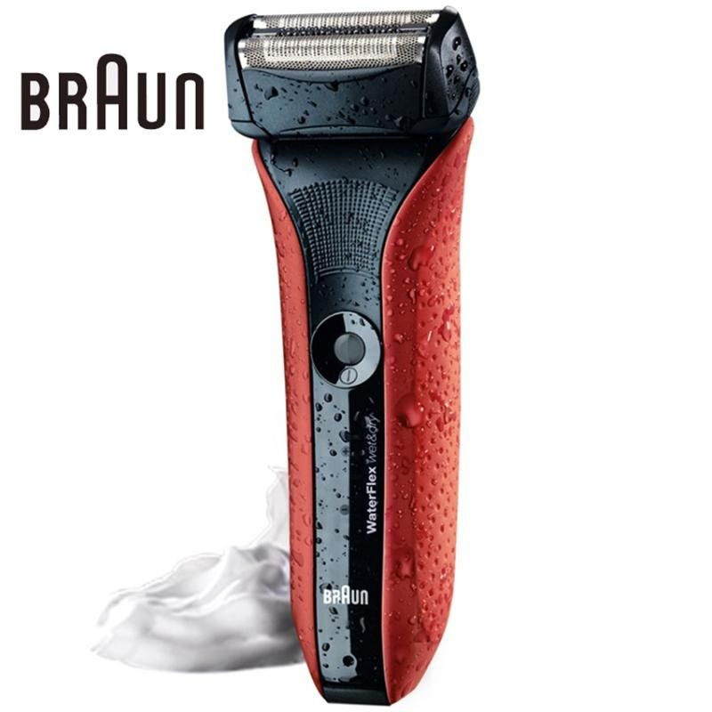 Braun Electric Shaving Razors Waterflex Wet Dry Wf2s Red High Quality Rechargeable Shavers Fully Washable Safety Razors Shaving Razor Shaver Shaving