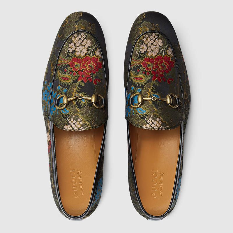 4726912258e  890 GUCCI Loafers SOLD by Gucci Jordaan jacquard loafer Boasts a slim  shape with Horsebit detail. The floral jacquard fabric originates from an  ancient ...