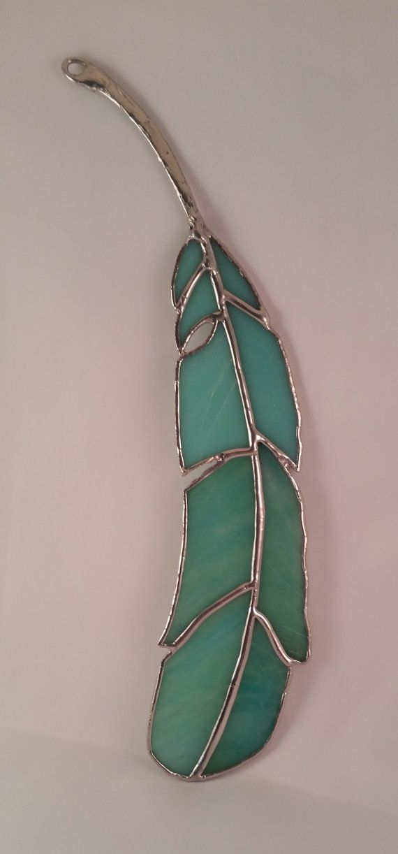 d779202c09c5ea Stained Glass Feather Suncatcher with Metal Quill and Seafoam Green and  Aqua Stained Glass