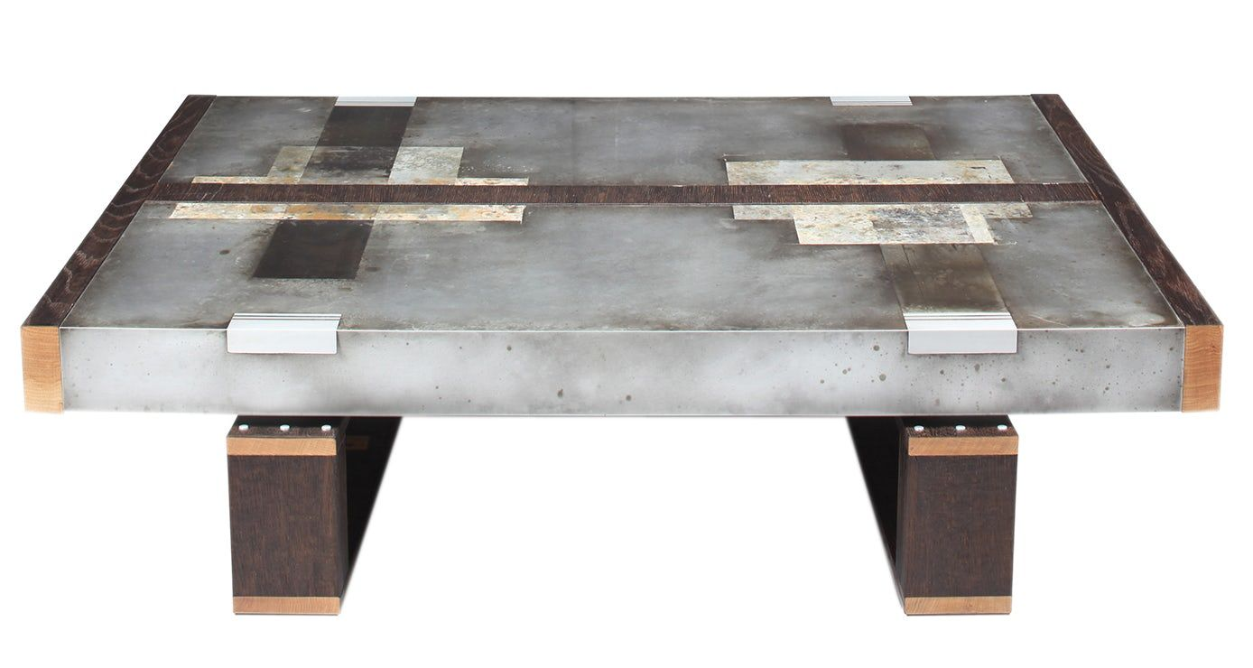 mid century industrial furniture. DIVIDED LANDS Cocktail Table In Etched Zinc - Contemporary Industrial Mid- Century / Modern Art Mid Furniture