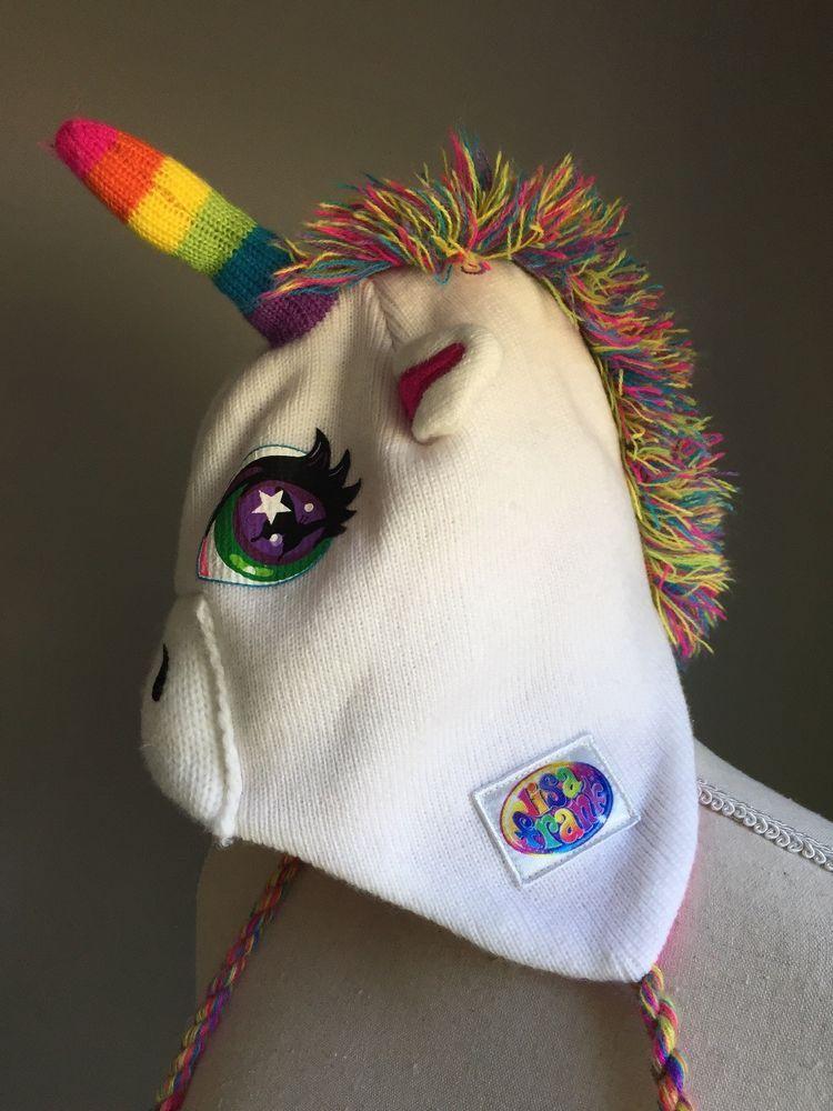 1ad9a65e8456 Lisa Frank Rainbow Unicorn Winter Hat Beanie White