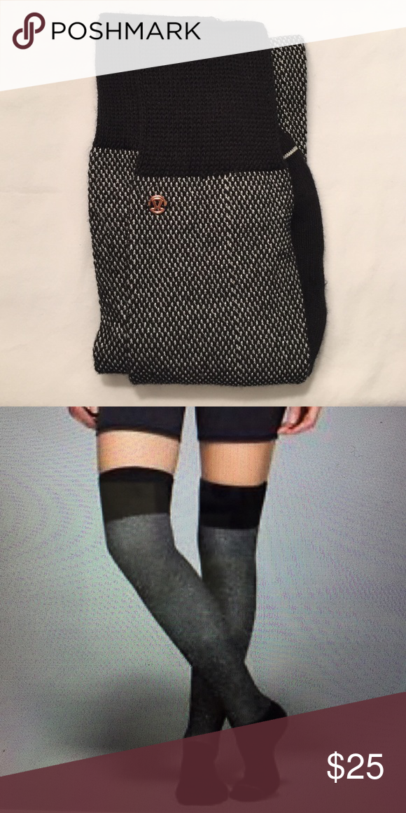 b0095a1496f Lululemon After Asana Socks Blk silver Pre-owned but never worn or washed.  Over the knee socks. Fits Size 6-9. Soft Merino wool and cotton. lululemon  ...
