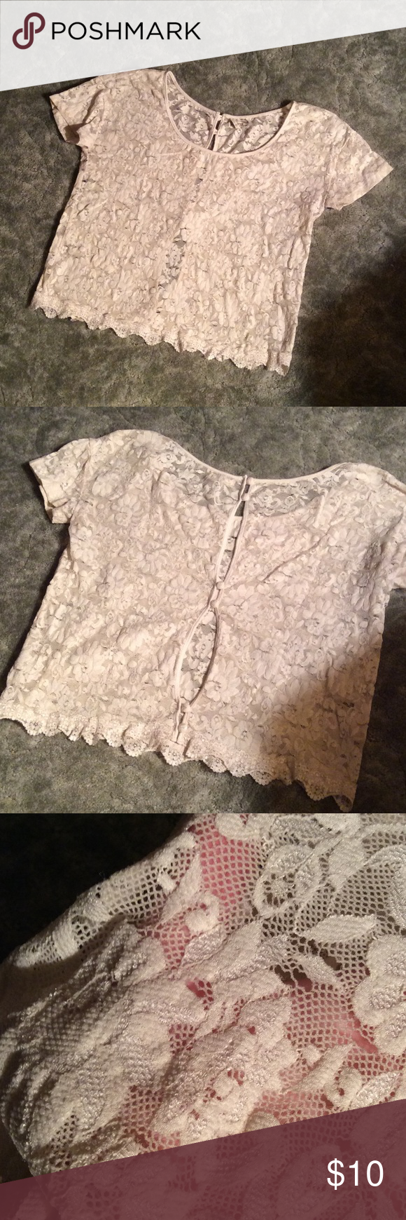 Kirra Lace Button-back Top Very trendy lace shirt with adorable buttons down the back. There appear to be some tears in the lace, which is reflected in the price. I got this shirt for free, so feel free to make an offer! Kirra Tops Blouses