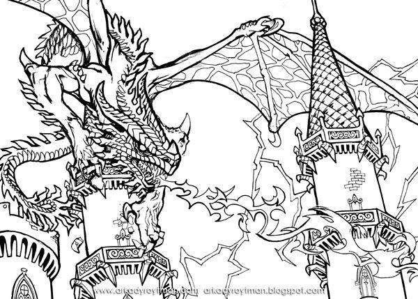 Dragon Castle Siege Dragon Coloring Page Super Coloring Pages