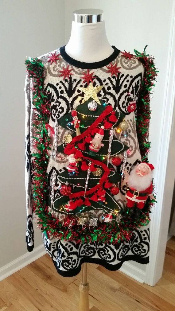 Ugly Christmas Sweater, Ugly Xmas Sweater, Christmas Tree, Santa