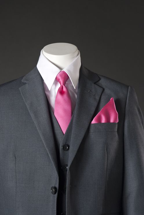 gray suits for wedding with pink tie | ... Suits, Vests & More ...