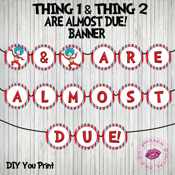 Dr Seuss Banner Thing 1 And Thing 2 Are By VixxxenDigitalDesign, $15.00