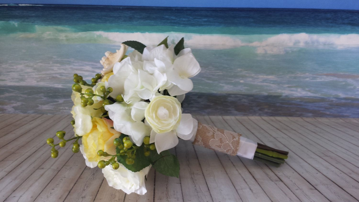 Items Similar To Yellow And White Rose Beach Wedding Bouquet Destination Nautical Toss Resort