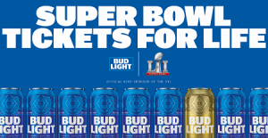 bud light super bowl tickets for life and gear sweepstakes over