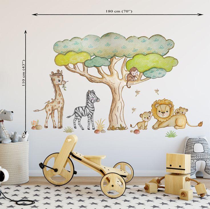 Wandtattoo Löwe Giraffe Zebra Elefant Nilpferd Zoo Baum Dschungel Tiere Kind