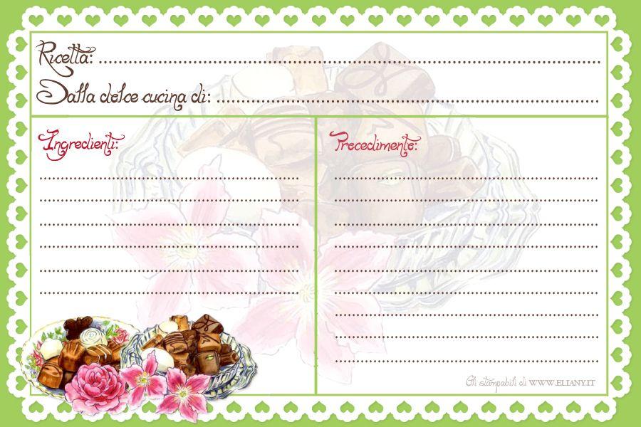 Ricettario ricettario per cucina e liste per spesa - Modelli di ghirlanda stampabili ...