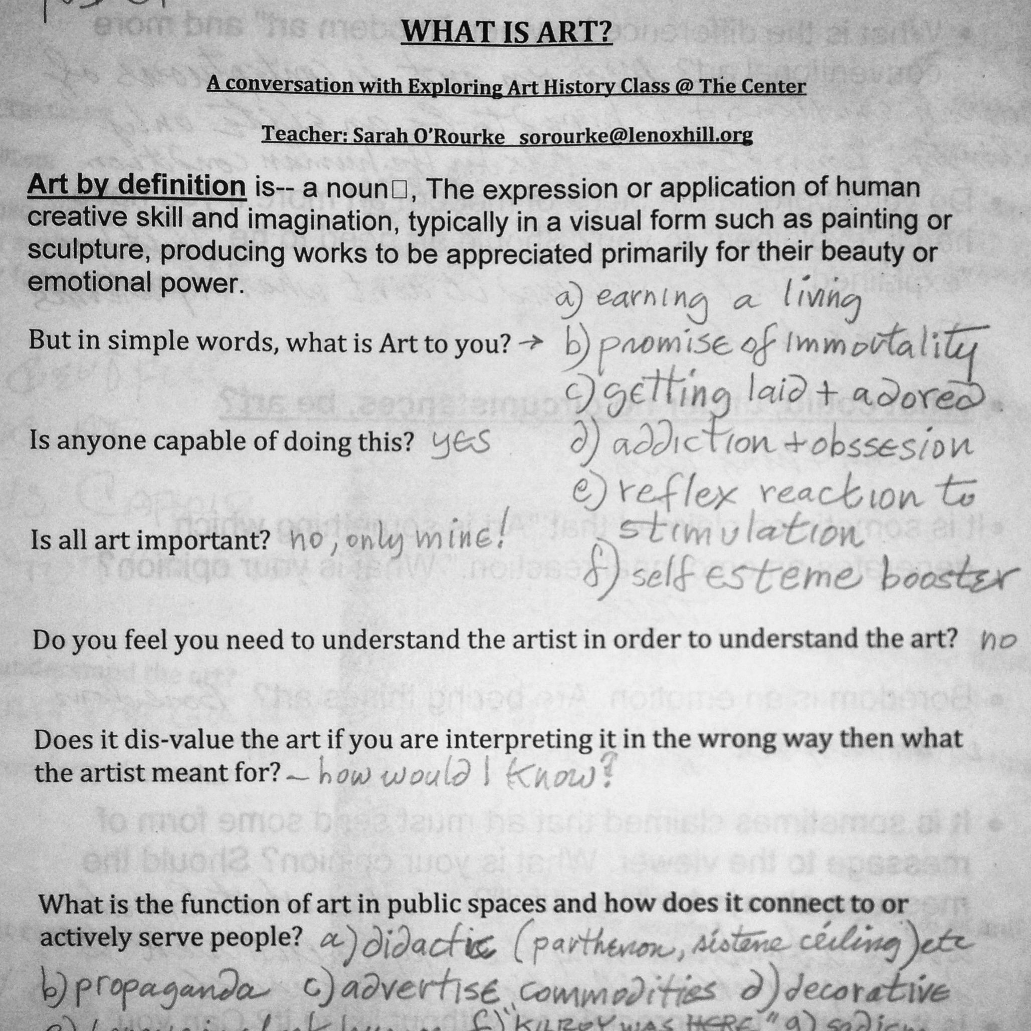 Worksheets I Have For My Adult Students In My Art History