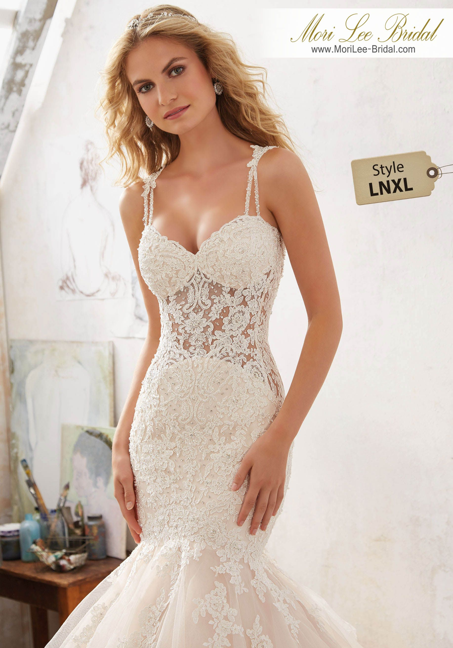 Dress style lnxl diamanté beaded alençon lace appliqués adorn the