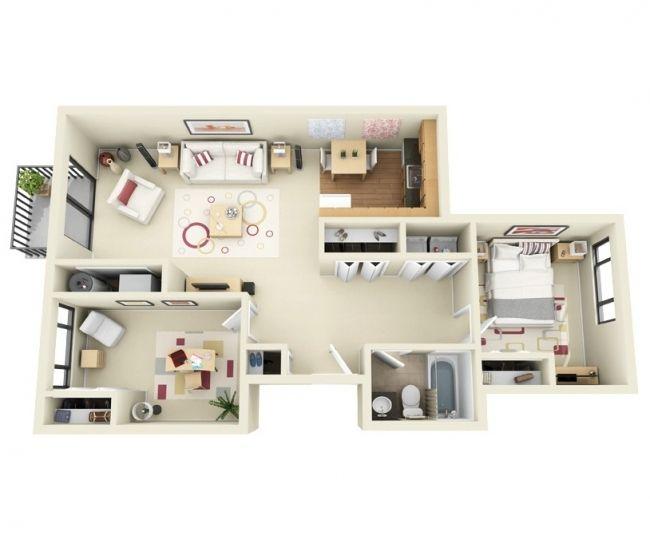 50 Plans 3D d\u0027appartement avec 2 chambres Architecture and House