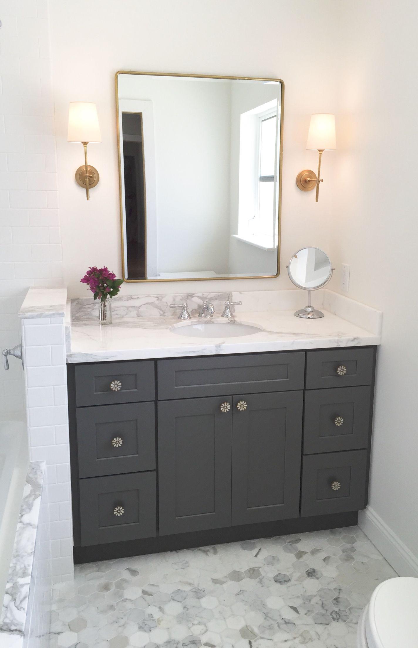 Gray Vanity Lighting By Visual Comfort Calacatta Gold Marble