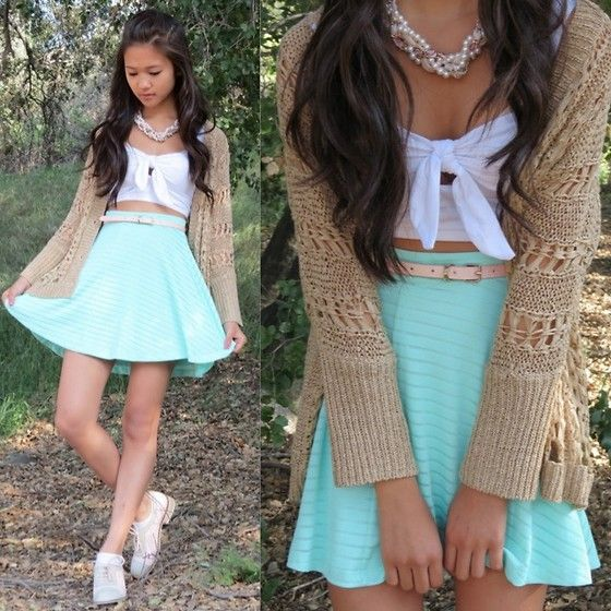 Forever 21 Pearl Necklace, Eris Bow Bandeau, 2020ave Chunky Knit Cardigan, Eris Pink Skinny Belt, Forever 21 Mint Green Skater Skirt, Le Bunny Bleu Pink Zinnia Oxfords
