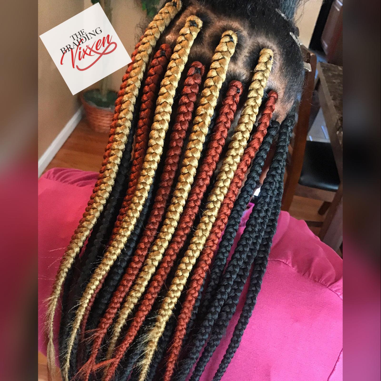 Colors Are 1b 350 And 27 Braiding Vixxen Ebony Hair Big Box Braids Hairstyles Cool Braid Hairstyles