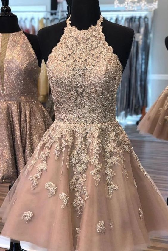 Attractive Halter Tulle Appliques Short Homecoming Dress, School Dance Dress,MC1555 by More Cheer Dress, $125.10 USD #schooldancedresses Attractive Halter Tulle Appliques Short Homecoming Dress, School Dance Dress,MC1555 by More Cheer Dress, $125.10 USD