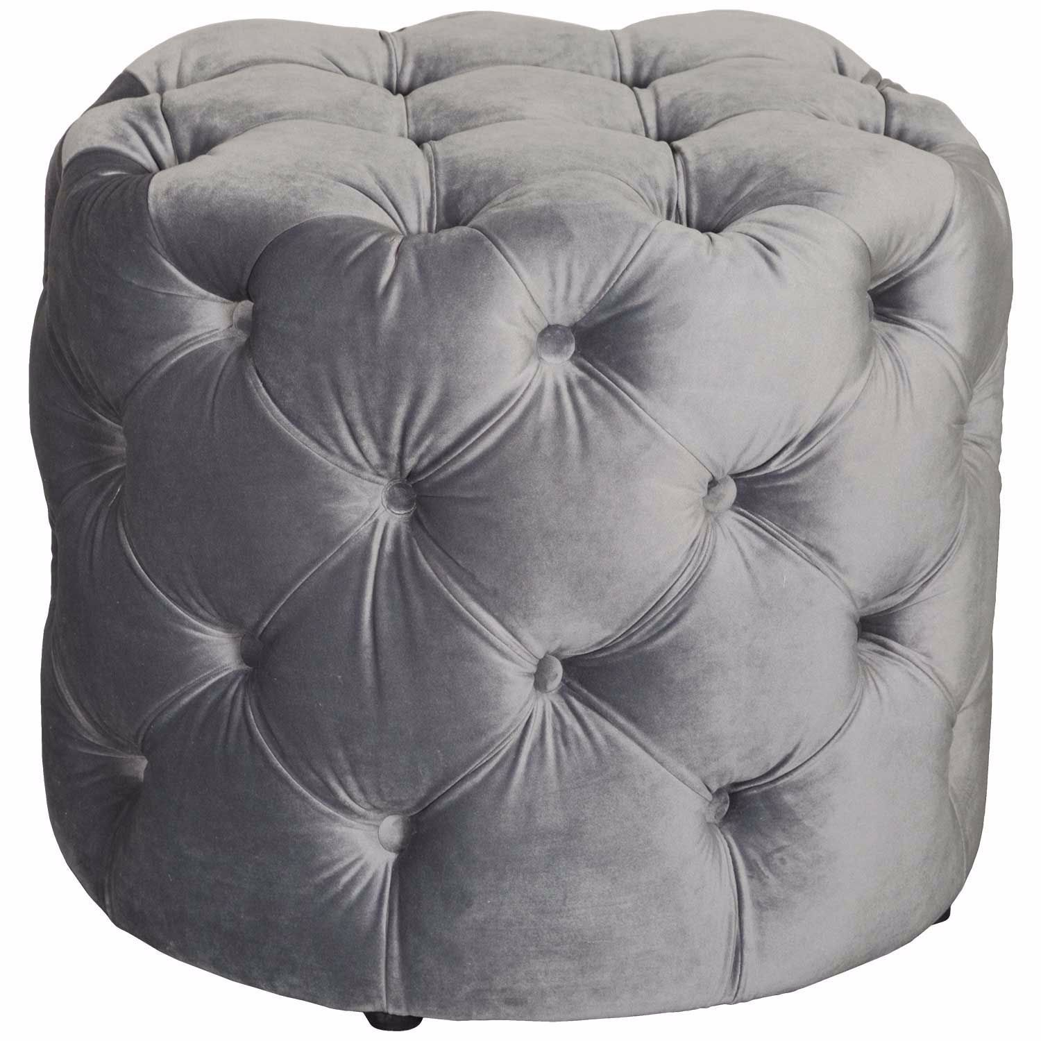 Olivia Tufted Gray Small Round Ottoman In 2020 Small Round