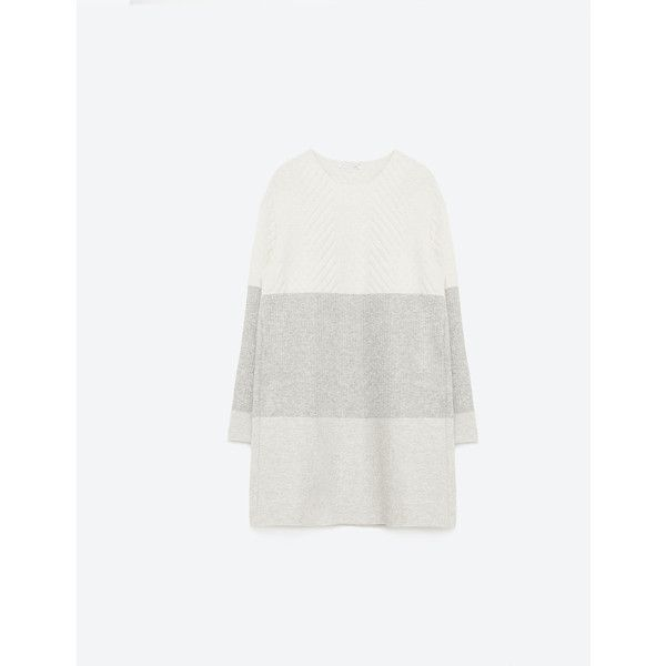 Zara Tri-Colour Dress (165 BRL) ❤ liked on Polyvore featuring dresses, grey marl, multi colored dress, multi color dress, colorful dresses, zara dresses and grey dresses